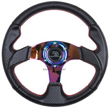 320mm JDM 6 Bolt Carbon Racing Steering Wheel Neo Chrome Spoke MS Mazdaspeed