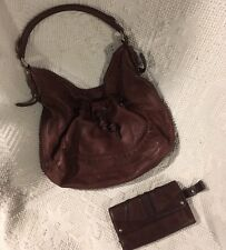 B. MAKOWSKY Brown Leather Shoulder Hobo Tote Satchel Slouch Purse Bag Wallet