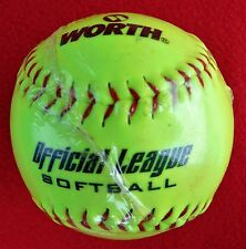 "Brand New ~ ""Worth"" Neon Yellow 12"" ~ Official League Softball"