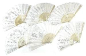 BUY 1 GET 1 FREE WHITE WEDDING FABRIC LACE HELD HAND FANS brides supplies fan