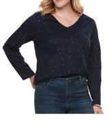 SONOMA Women's V-Neck Long Sleeve Top T-Shirt Red Blue Striped Plus 1X 2X 3X NWT