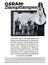 OSRAM Quecksilber- & Natrium Dampflampen  Historische Reklame von 1937
