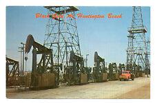 Huntington Beach CA Oil Pumps & Flat Bed Truck Postcard 1957