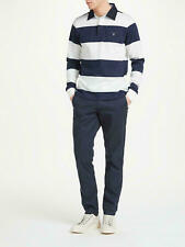 GANT BASTRIPE WHITE & NAVY HEAVY RUGGER POLO SHIRT