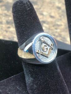 Masonic Two tone  Men's Solid  Classic  Ring Silver 925 and 14K gold
