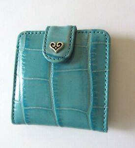 Brighton B Wishes Snappy Mirror Compact- 2 mirrors- leather -Sea turquoise