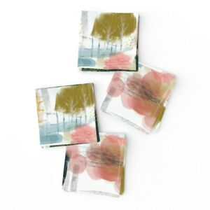 Cocktail Napkins Abstract Painting Paint Trees Nature Watercolor Teal Set of 4