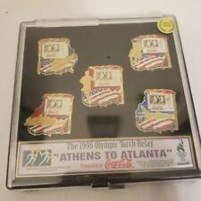 1996 coca cola Athens to Atlanta Olympic Torch Relay pin set