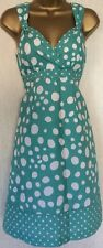BODEN 🧡 Jade Green / Blue Spotty Casual Cotton Tea / Day Dress. Size 8 Reg