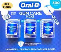 ORAL B GUM CARE PICKS 300 PICKS #1 DENTIST RECOMMENDED FLOSS, REMOVES PLAQUE