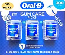 ORAL B GUM CARE PICKS 300 PICKS #1 DENTIST RECOMMENDED FLOSS, REMOVES PLAQUE