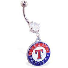 Belly Ring MLB Baseball Texas Rangers Logo Sports Dangle Naval Body Jewelry