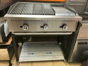 Peri Peri water Grill & flat Griddle with casters Stand