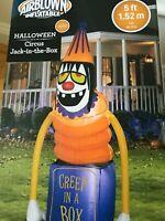 Halloween Airblown Inflatable Gemmy Circus Jack-in-a-Box Creepy Clown Prop RARE