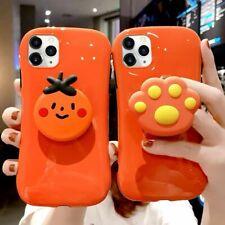For iPhone 11 Pro Max XS XR 8 7 6s Plus Hot Orange Arc Simple Color Case Cover