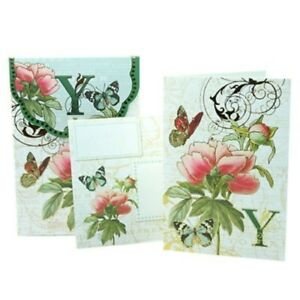 PUNCH STUDIO FLORAL MONOGRAM POUCH NOTE CARDS- #56976Y (Y)