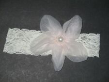 New Nwot Toddler Girls Ivory Lace & Pink Flower & Pearl Headband