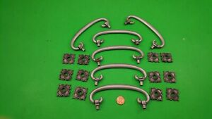 6 OLD ANTIQUE CANADIAN SILVER DRESSER DRAWER HANDLES