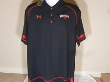 New Mens Under Armour HeatGear SMU Mustangs Loose Fit Polo Shirt Black Large $65