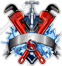 "Plumbing Plumber Pipe Drain Fittings Wrench Car Bumper Vinyl Sticker Decal 4""X5"""