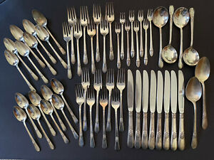 1847 Rogers Bros. IS Adoration Pattern 54-Pieces Silverplate Flatware