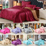 Satin Silk Bedding Set Duvet Quilt Cover Flat Sheet Pillow Case Twin/Queen/King