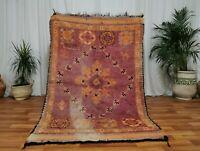 Handmade Morocco Vintage wool rug 4'4x6'8 Bohemian Berber pagan purple carpet