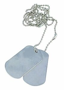 Two x US USA Army Military Style Silver Colour Metal military ID Dog Tags