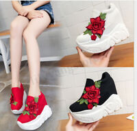 Summer Women Creepers Chunky High Platform Wedge Shoes Floral Casual Sneakers