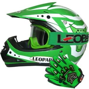 Grün Kinder Moto Cross Helm Motorradhelm Crosshelm MX Brille Handschuhe Optional