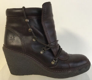Ladies Fly London Brown Leather Lace Up Wedge Ankle Boots Size UK 5 EU 38