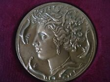 Vintage French bronze plaque medal 1969 head of Aretusa