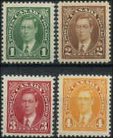 1937 Mint Canada F+ 1c-4C Scott #231-#234 Mufti Stamps Never Hinged