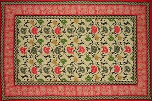 """Mediterranean Floral Tapestry Cotton Bedspread 104"""" x 70"""" Twin Red"""