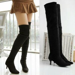 Womens Over Knee Boots Kitten Heels Pointed Toe Long Boot Casual Shoes Pull On