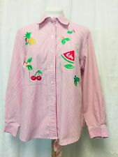 Alia Petites Womens Embroidered Button Front Shirt. Size 10. Red Stripe.