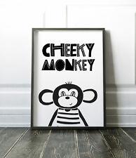 Cheeky Monkey Scandinavian Print For Boys Bedroom / Nursery Black & White