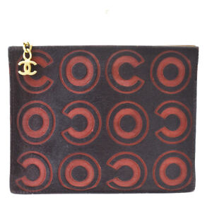 Authentic CHANEL CC Logo Pouch Hand Bag Coco Pony Hair Leather Black 31MG160