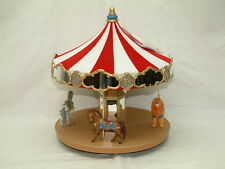 2004 Hallmark Carousel Ride 2 Horses + Lion Lights Xmas Keepsake Ornament MIB