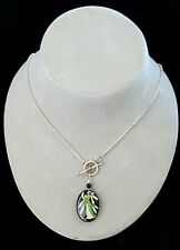 Toggle Necklace Fairy Painted on Faceted Black Onyx .925 Silver Handcrafted USA