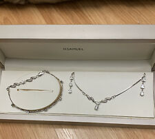 H Samuel 9ct white gold Necklace Bracelet and Earrings Set. Used once not Scrap