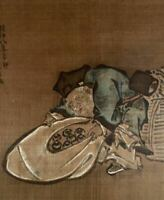 JAPANESE PAINTING HANGING SCROLL JAPAN Good Luck God Daikoku ANTIQUE e147