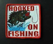 HOOKED ON FISHING EMBROIDERED PATCH 3 INCHES