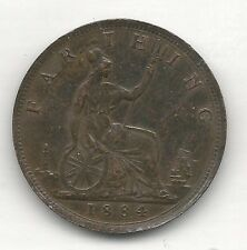 GREAT BRITAIN, 1884,   FARTHING, BRONZE,  KM#753,  CHOICE ALMOST UNCIRCULATED