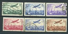 "FRANCE AVIATION 8 / 13  ""AVION SURVOLANT PARIS, 6 TIMBRES 1936 "" OBLITERES TB"
