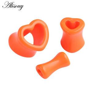 Acrylic Ear Tunnels Heart Stretcher Ear Gauges Flesh Plugs Punk Unisex Piercings
