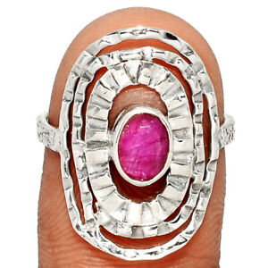 Ruby - India 925 Sterling Silver Ring Jewelry s.7.5 BR18847 211E