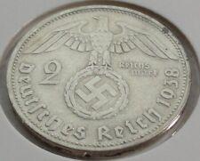 Germany 2 REICHSMARK SILVER MARK HINDENBURG SWASTIKA 1938 D Third Reich