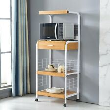 Microwave Stand Cart on Wheels, Kitchen Baker's Rack, Microwave Oven White