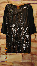 Ali Ro Black Striped Sequins 3/4 Sleeve Cocktail Dress Size 2